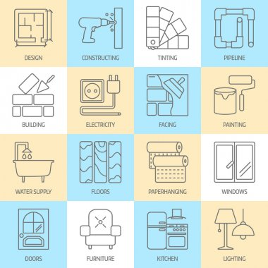 Vector set of modern flat line icons for house construction