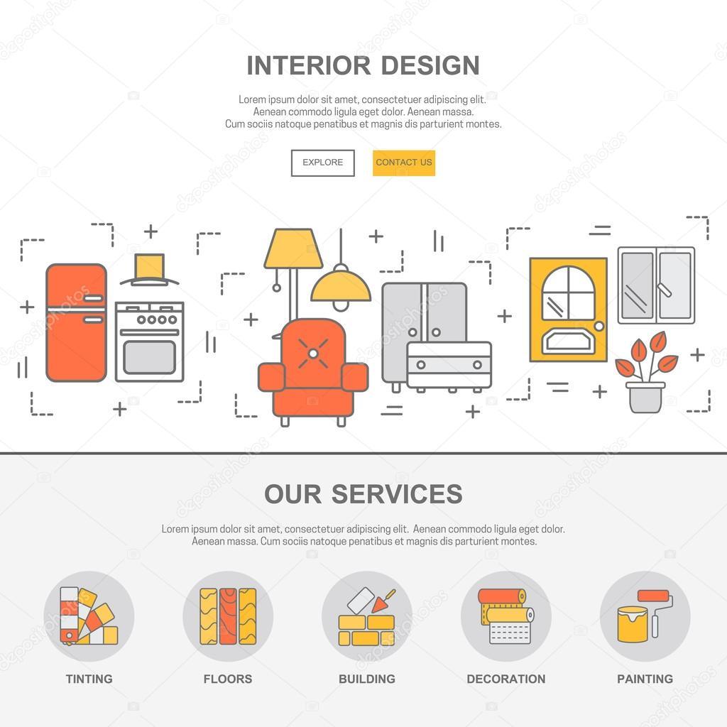 Web Template mit dünne Linie Symbole der Innenarchitektur ...