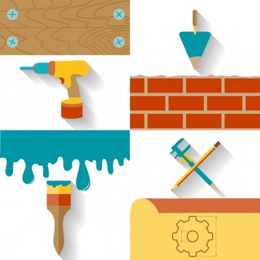 Set of conceptual icons for the design, construction and finishing works. Flat design vector illustration.