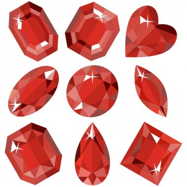 Set of sparkling ruby of various shapes. Vector illustration.