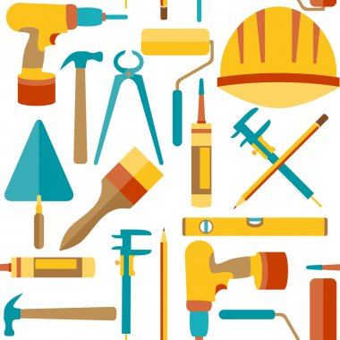 Flat design. Seamless pattern of house repair icons
