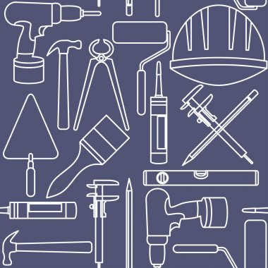 Flat design. Seamless pattern of graphic house repair icons