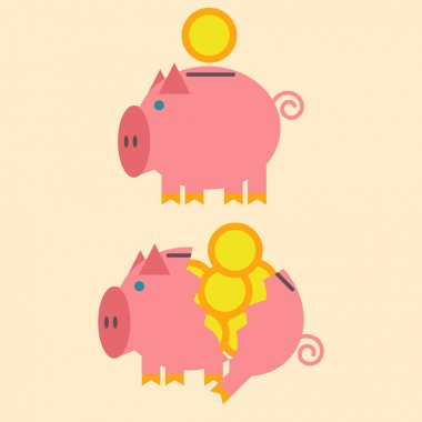 Flat design of intact and broken piggy bank. Vector illustration.