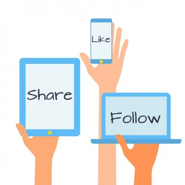 Flat design vector illustration concept of social media icons. Hands with simbols.