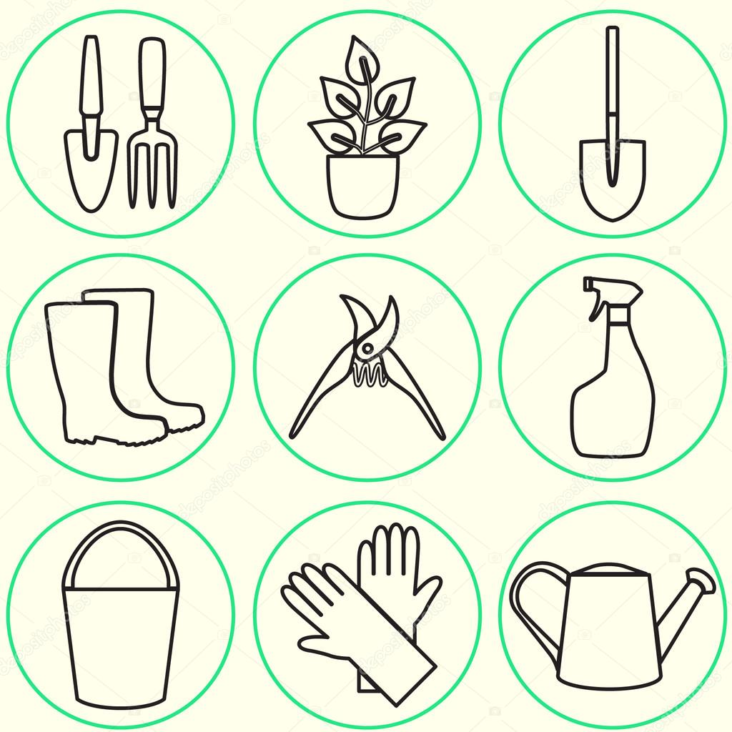 Line design set of gardening tool icons isolated on white background.