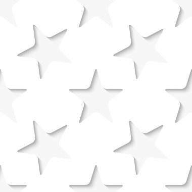 Abstract white vector 3d seamless background with stars. stock vector