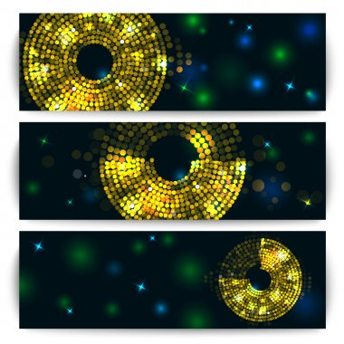 Concept of banner, flyer with abstract gold disco lights frame