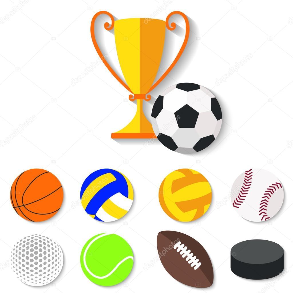 26d8519f79a Set de pelotas de deporte diseño plano y taza del ganador. — Vector de stock