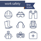 Photo Set of line icons for safety work. Vector illustration.