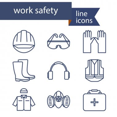 Set of line icons for safety work. Vector illustration. stock vector