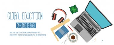 Web banner concept for online education.