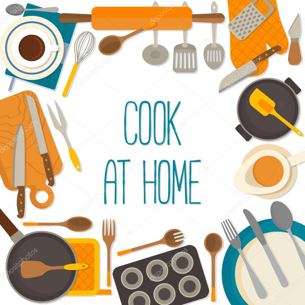 Marco de diseño plano de utensilios de cocina aislada sobre fondo ...
