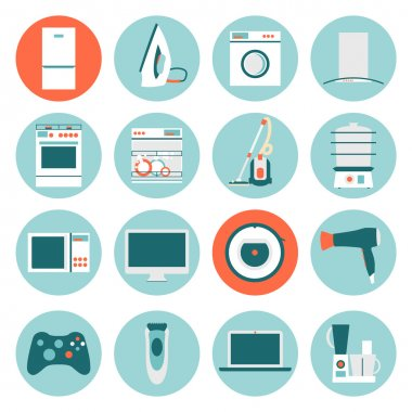 Set  modern flat design icons of home appliances.