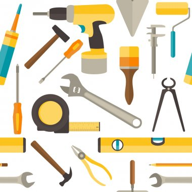 Vector seamless pattern with repairs tools