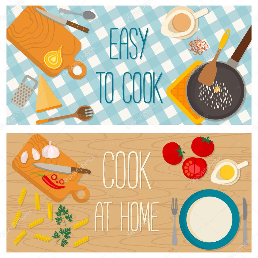Design piatto cibo e cucina banner vettoriali stock for Design piatto