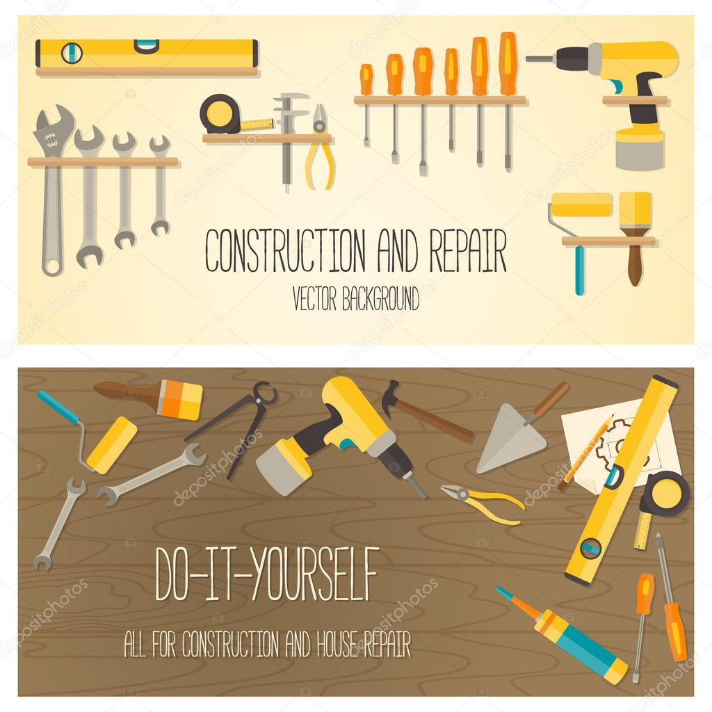 Vector flat design DIY and home renovation tools.