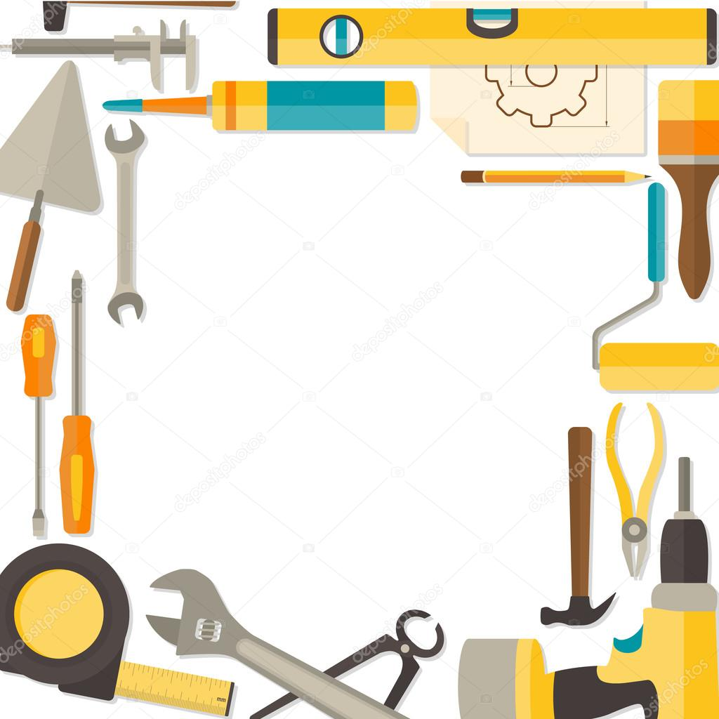 Vector flat design background with do it yourself tools stock vector flat design background with do it yourself tools stock vector solutioingenieria Gallery