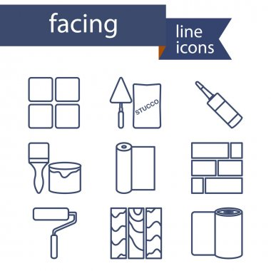 Set of line icons for DIY, finishing materials.