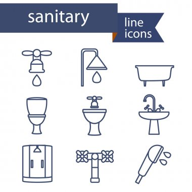 Set of line icons for DIY, sanitary engineering.