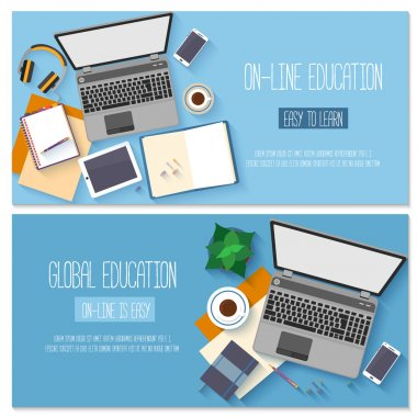 Flat design baners for online education