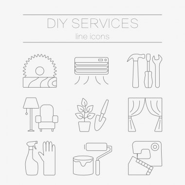 Vector set of line icons for DIY services.