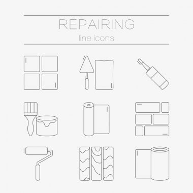 Vector set of line icons for DIY, finishing materials