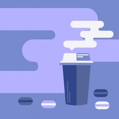 Background with coffee cup and macaroons.