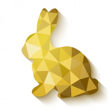 Flat design polygon of golden Easter Bunny.