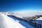 Fotografie Blick auf die Berge in Österreich vom Skigebiet Kitzbühel