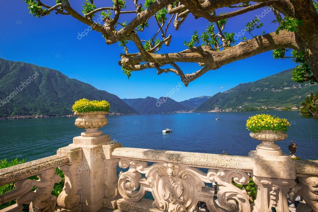 view to Como lake and Alps from Villa