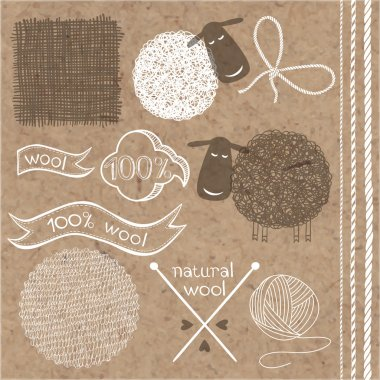 Wool labels, stickers and elements