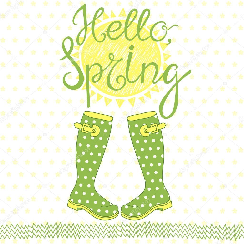 Frühling-Karte mit Begrüßung — Stockvektor © maritime_m #101166866