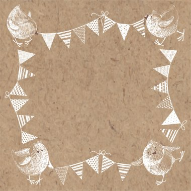 chickens and  bunting flags