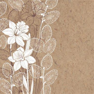 spring flowers on kraft paper