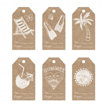 tags with  summer holiday motifs.