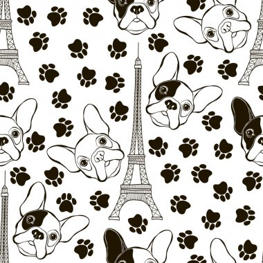 Seamless pattern with French Bulldogs