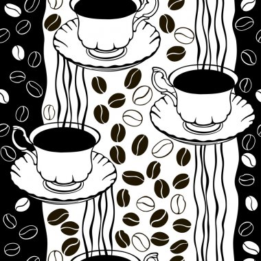 coffee beans and cups pattern