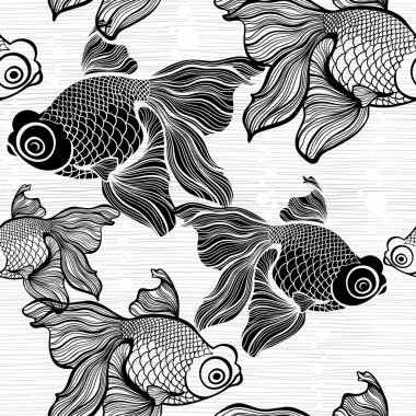 Monochrome seamless pattern with fishes