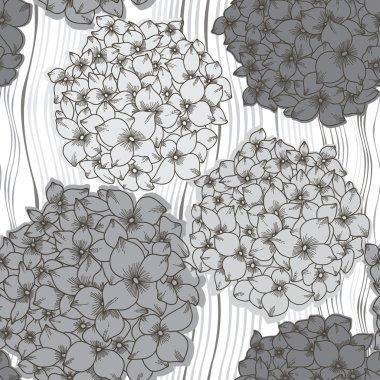 seamless pattern with  hydrangeas