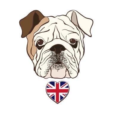 English bulldog face with  heart flag UK