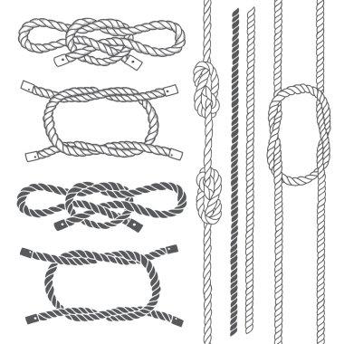 Set of marine rope, knots.