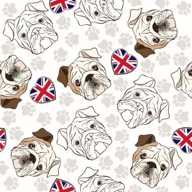 Pattern with Bulldog, traces and hearts