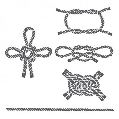 Set of marine rope, knots