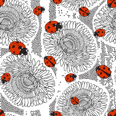 pattern with dandelions and ladybirds