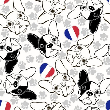 Pattern with French Bulldogs