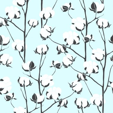 Pattern with cotton branches