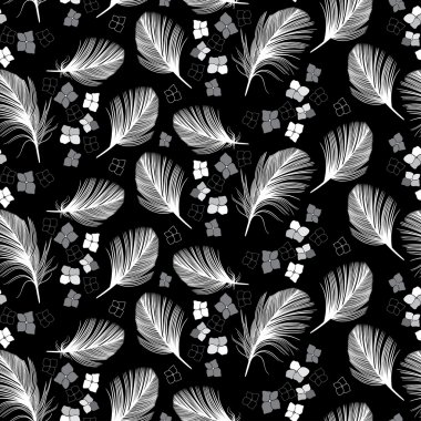 Pattern with flowers and feathers