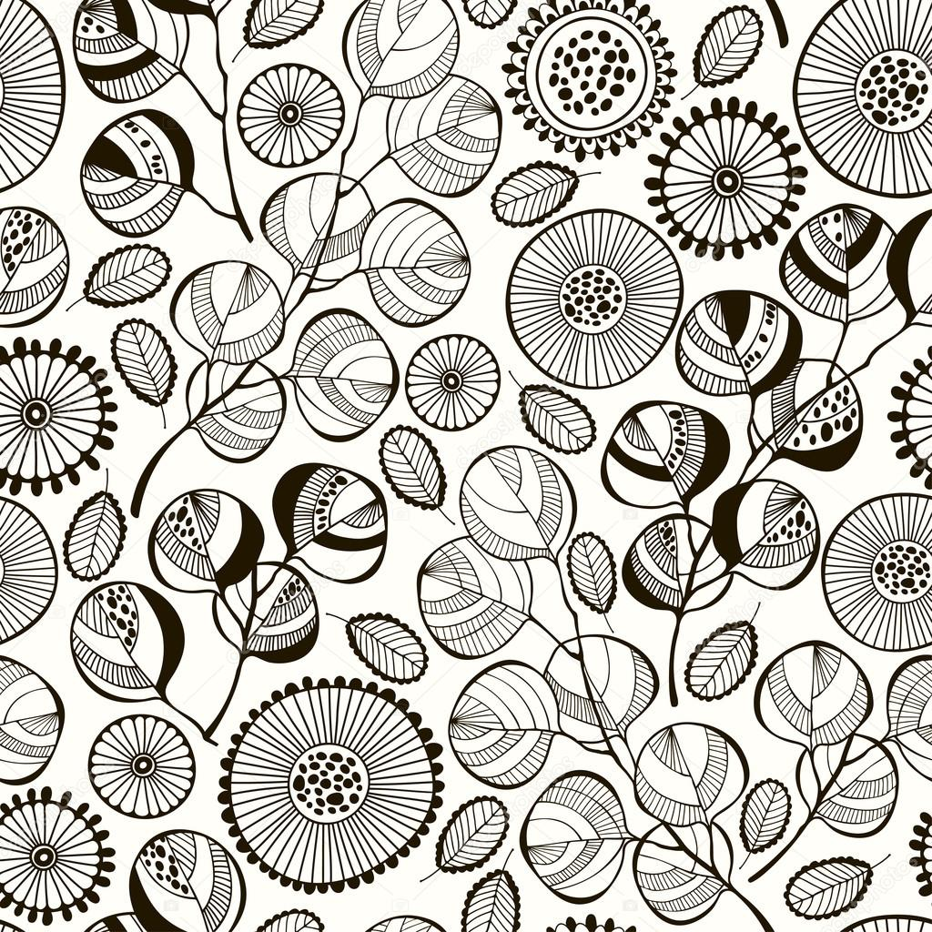 Pattern with branches and flowers