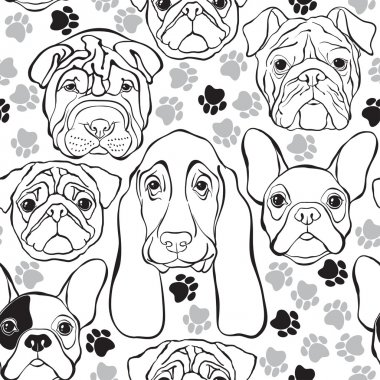 seamless pattern with faces of dogs