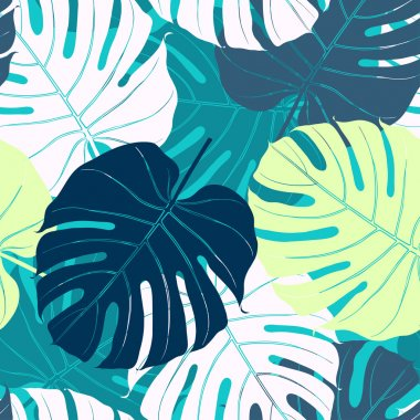 Seamless pattern with palm leaves.